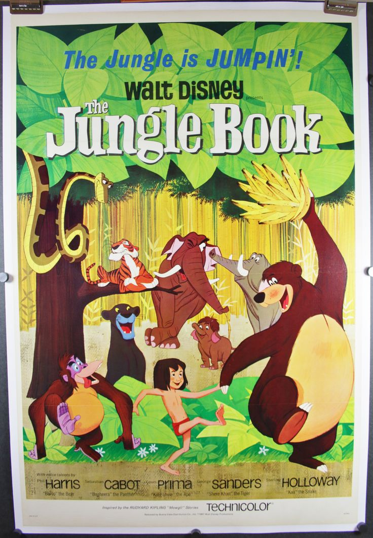 THE JUNGLE BOOK, 1967. Original Walt Disney linen backed tri-fold 1 Sheet (27 x 41″) vintage theatrical movie poster for sale and starring; Phil Harris, Sebastian Cabot and director Wolfgang Reitherman. A fantastic Walt Disney cartoon film that is a timeless classic starring Mowgli a young jungle boy who has been raised by Baloo the lovable jungle bear in India. The antagonist Shere Kahn the tiger has stricken fear in to children around the world