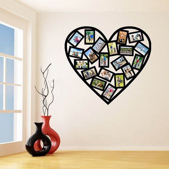 Vinyl Wall Decal Picture Frames Design / Heart Shape Photos Art Decor Sticker / Photo Frame Removable Stickers + Free Random Decal Gift!