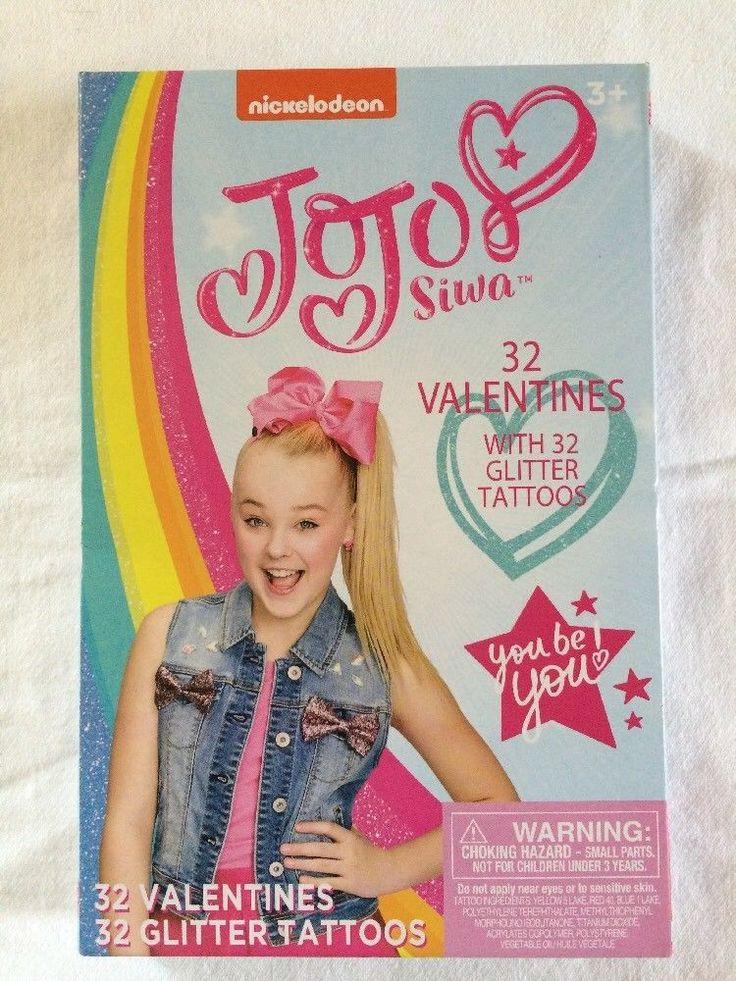 jojo siwa 32 valentines day cards glitter tattoos 8