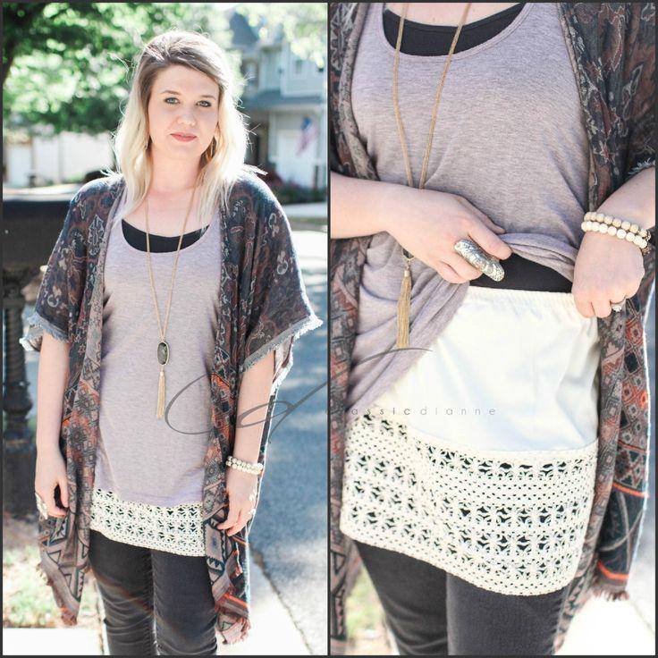 Shirt Extender Taupe Crochet