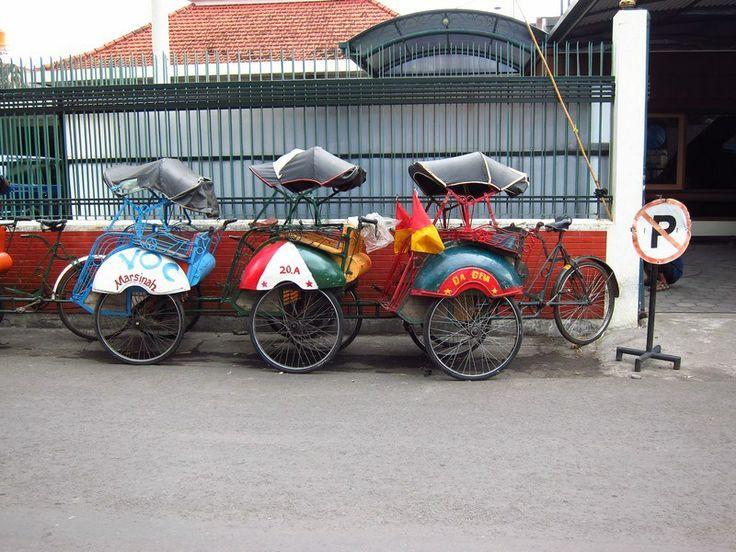 Becaks in Yogyakarta (Jogjakarta), Indonesia