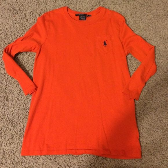 3/4 sleeve orange polo shirt with pocket Excellent condition Polo by Ralph Lauren Tops Tees - Short Sleeve