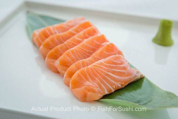 Deliver premium sushi-grade Salmon Sashimi (9 oz) to your door.  It's sustainably farmed, and all-natural with no antibiotics. Order now at FishforSushi.com