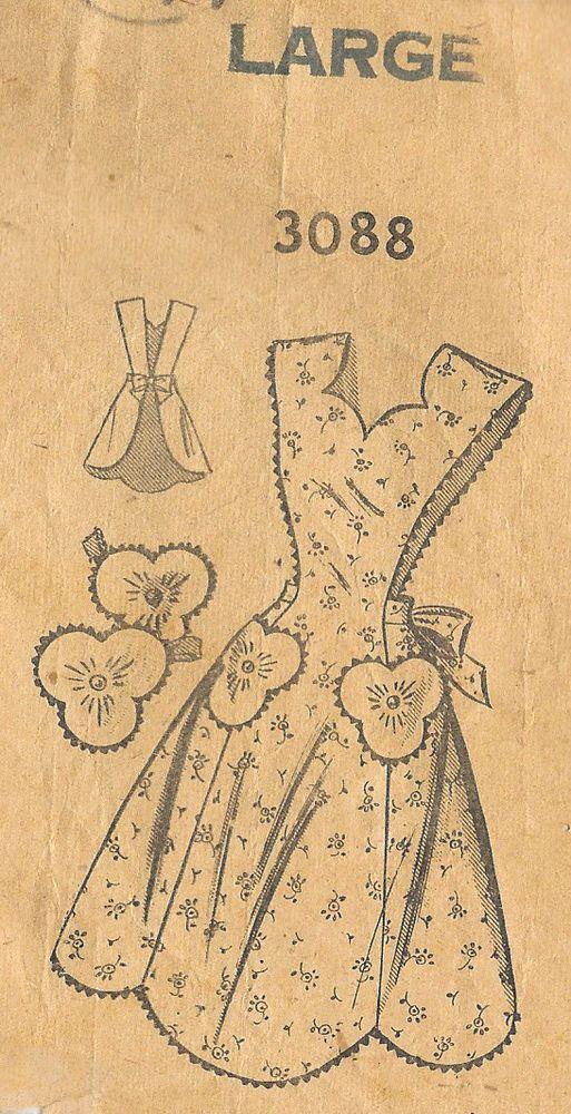 "1940s Vintage Sewing Pattern APRON B36""-38"" LARGE (R217) #Unbranded"