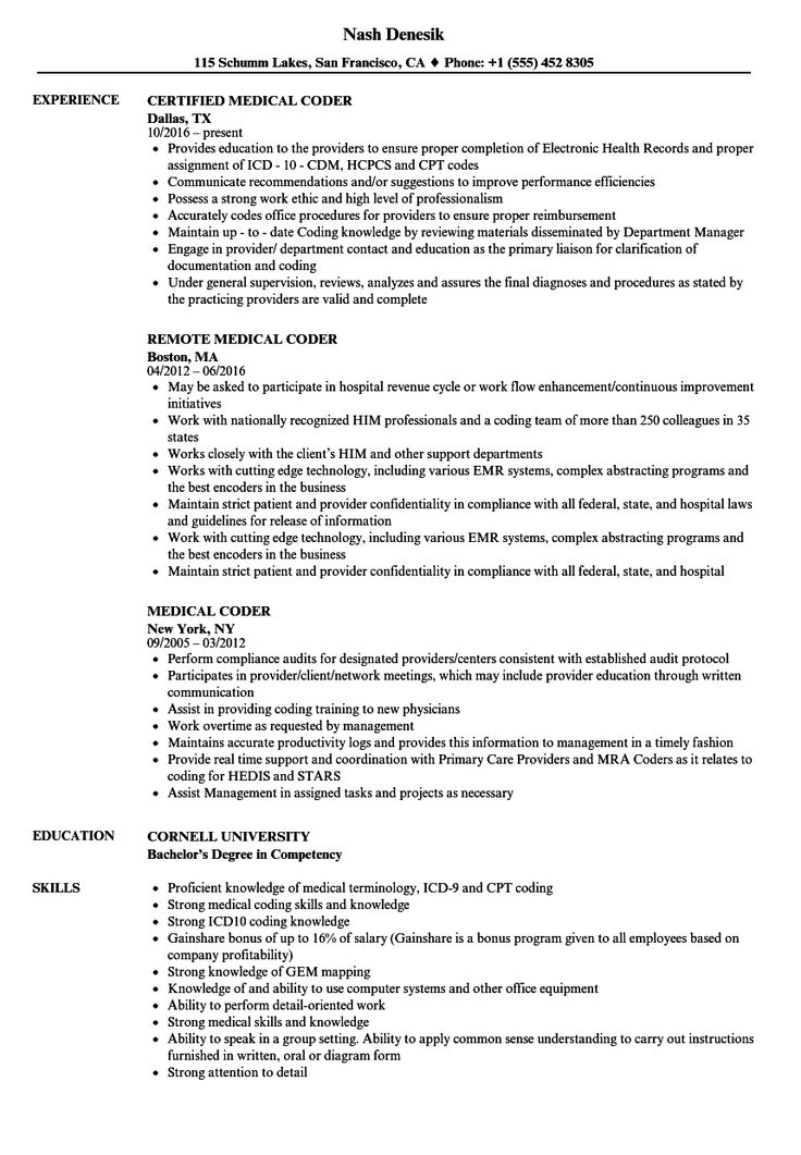 Medical Coder Resume Sample in 2020 Medical coder resume