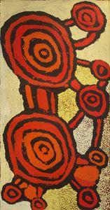 Johnny Yungut Tjupurrula, Designs Associated with Wilkinkarra, 2012, acrylic on belgian linen, 91 x 46 cm. Gallery Gabrielle Pizzi, Melbourne.