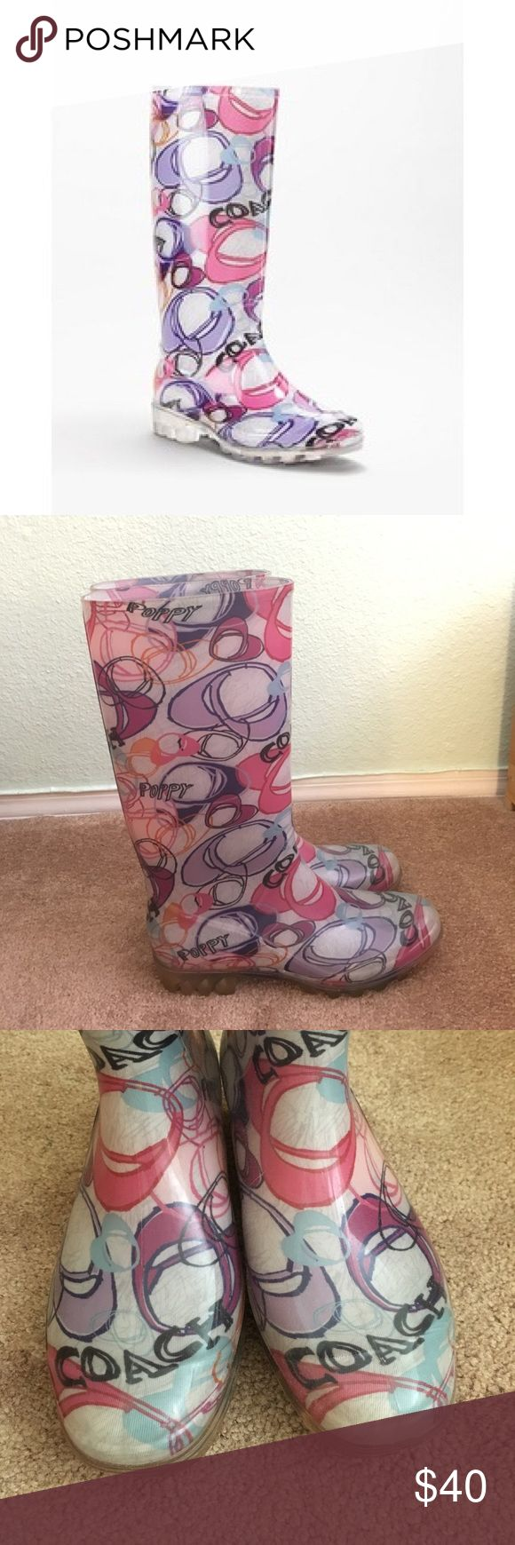 Coach rain boots EUC, gently used coach poppy rain boots with tons of life left! Multi colored rain boots with the signature coach logo Coach Shoes Winter & Rain Boots