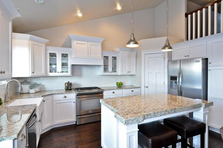 Custom Alexander 3900 Craftsman Style Kitchen Large Island With Thick  Granite Smooth White Staggered Cabinetry Dark