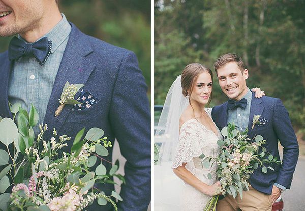 groom wears blue suit with chambray shirt and khaki pants