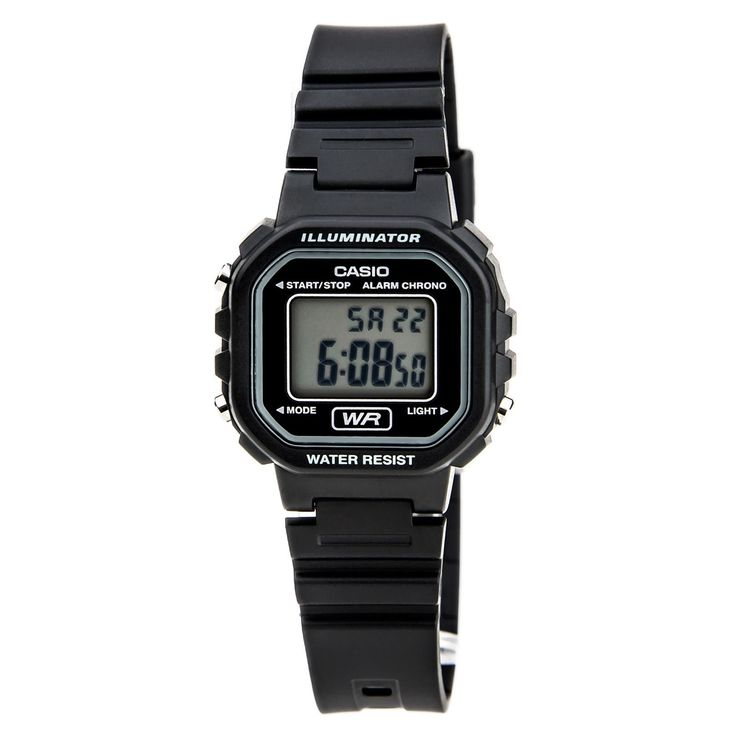 Casio LA20WH-1A Women's Classic Petit Square Grey Digital Dial Alarm Chronograph Watch