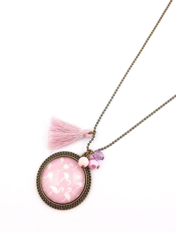 Collier sautoir bronze - Cabchon Flamants roses de la boutique Efeedestyle sur Etsy