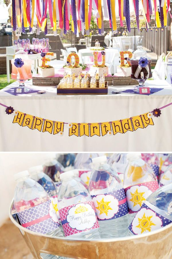 Whimsical Tangled Birthday Party Ideas- yarn wrapped letter centerpiece and love the fabric streamer bunting