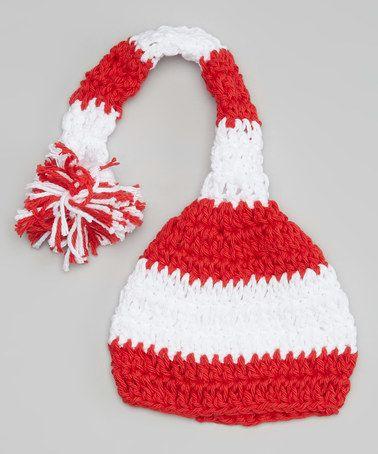 Love this Red & White Stripe Elf Beanie on #zulily! #zulilyfinds