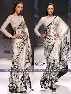 Silver Plain Printed Party Wear Saree With Blouse Bollywood Sarees Online on Shimply.com