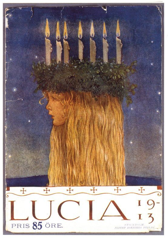 Lucia by John Albert Bauer (4 June 1882 – 20 November 1918) was a Swedish painter and illustrator. His work is concerned with landscape and mythology, but he also composed portraits. He is best known for his illustrations of early editions of Bland tomtar och troll (Among Gnomes and Trolls), an anthology of Swedish folklore and fairy tales.
