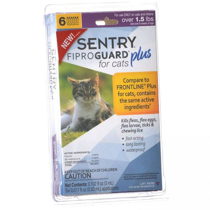 🐱 6ct Sentry Fiproguard Plus for Cats kills and protects against fleas, ticks and lice. Breaks the flea life cycle and prevents reinfestation. Fast-acting, long-lasting and waterproof formula.