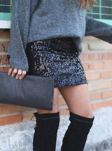 μινι φούστα με παγιέτες  one size