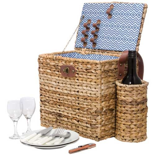 Sunnylife Picnic Basket for two  'Hey Boo Boo, Let's go get us a pic-a-nic basket'  29x31x20cm  Nylon, Banana Leaf  $99.95