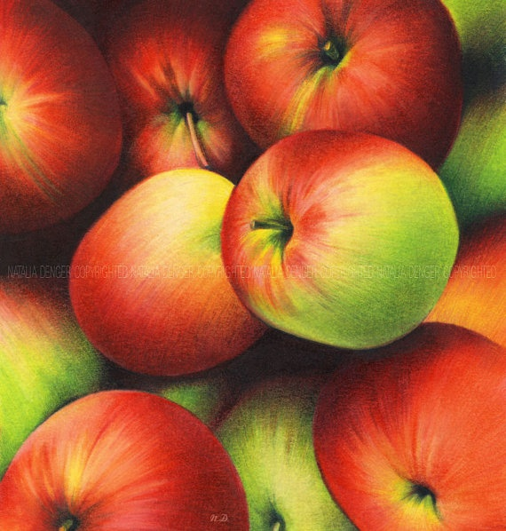 Delicious Apples Art Print Kitchen Art Yellow and by NataliaDENGER, $19.00