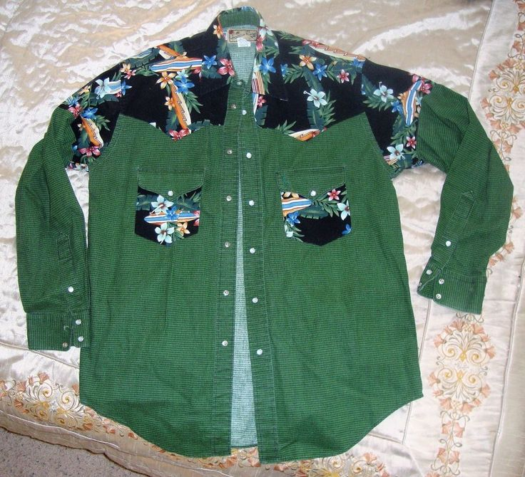 Vintage Hawaiian Rodeo Cowboy Western Patchwork Shirt Long Sleeve Medium Mens #HawaiianRodeo #snapFront