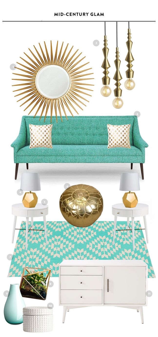 Mid-Century Glam Living Room Inspiration