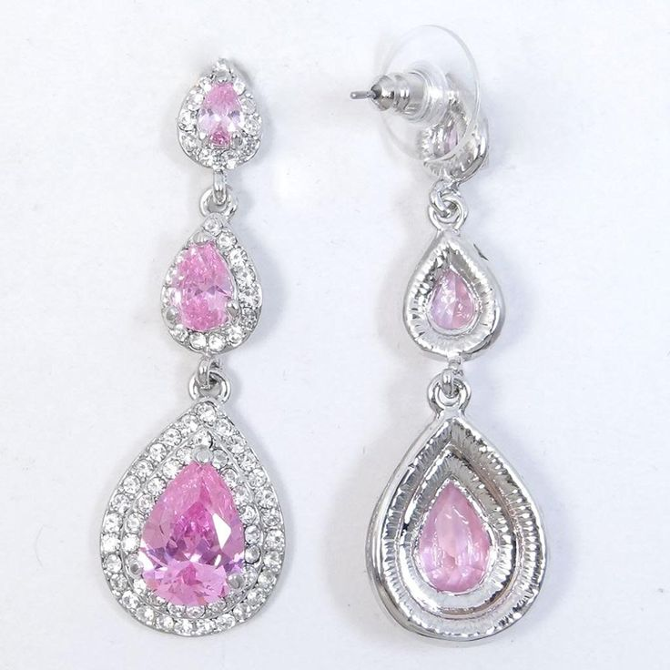 EVER FAITH 3 Teardrop Pierced Austrian Crystal Zircon Earrings Clear * Click image to review more details. (This is an affiliate link) #Jewelry