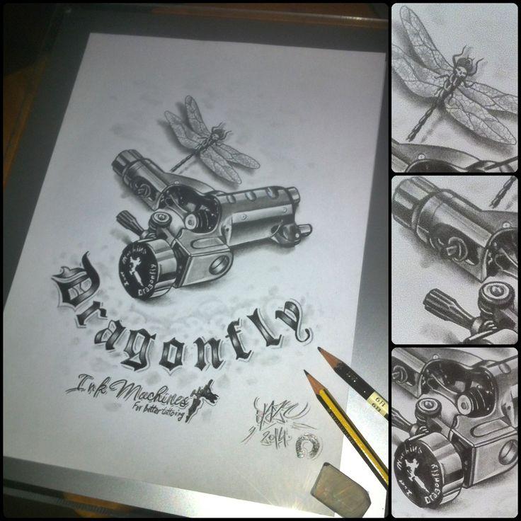 Traditional tattoo machine drawing
