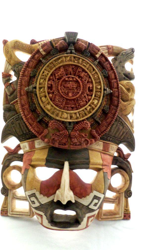 Aztekischer Kalender Krieger Maske komplett Handcarved in einem Stück Zeder-Kunst aus Mexiko * Verkauf ** siehe Hinweis