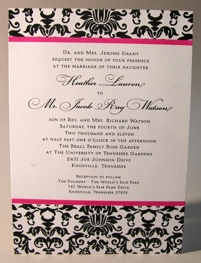 Thermography Wedding Invitation Two Color Pink And Black With Bleed Printed On