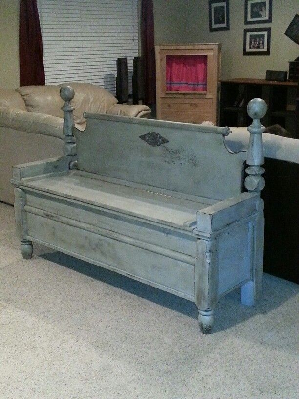Storage bench from old footboard, headboard