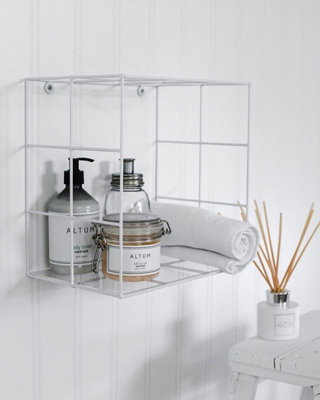 Simplicity Is Key Storage You Can Never Have Enough Of Isn T That The Truth Our White Wire Box S Bathroom Wall Shelves Metal Wall Shelves Box Shelves