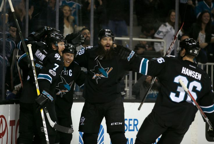 The San Jose Sharks celebrate a goal San Jose Sharks' Joe Thornton (19), with an assist by San Jose Sharks' Jannik Hansen (36), during their game against the Washington Capitals in the first period at the SAP Center in San Jose, Calif. on Thursday, March 9, 2017. (Nhat V. Meyer/Bay Area News Group)
