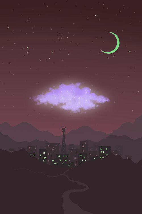 doodle-kocha: Looking back, you see the bulge of light that is your Night Vale. The purple cloud now floating over the heart of the city.