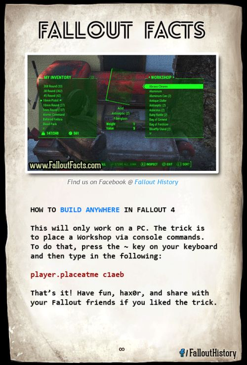 Playing Fallout 4 on PC? Youll love this! More tricks on Facebook. fallout fallout 4 fallout 4 cheat fallout 4 cheats fallout 4 build fallout 4 console fallout 4 commands