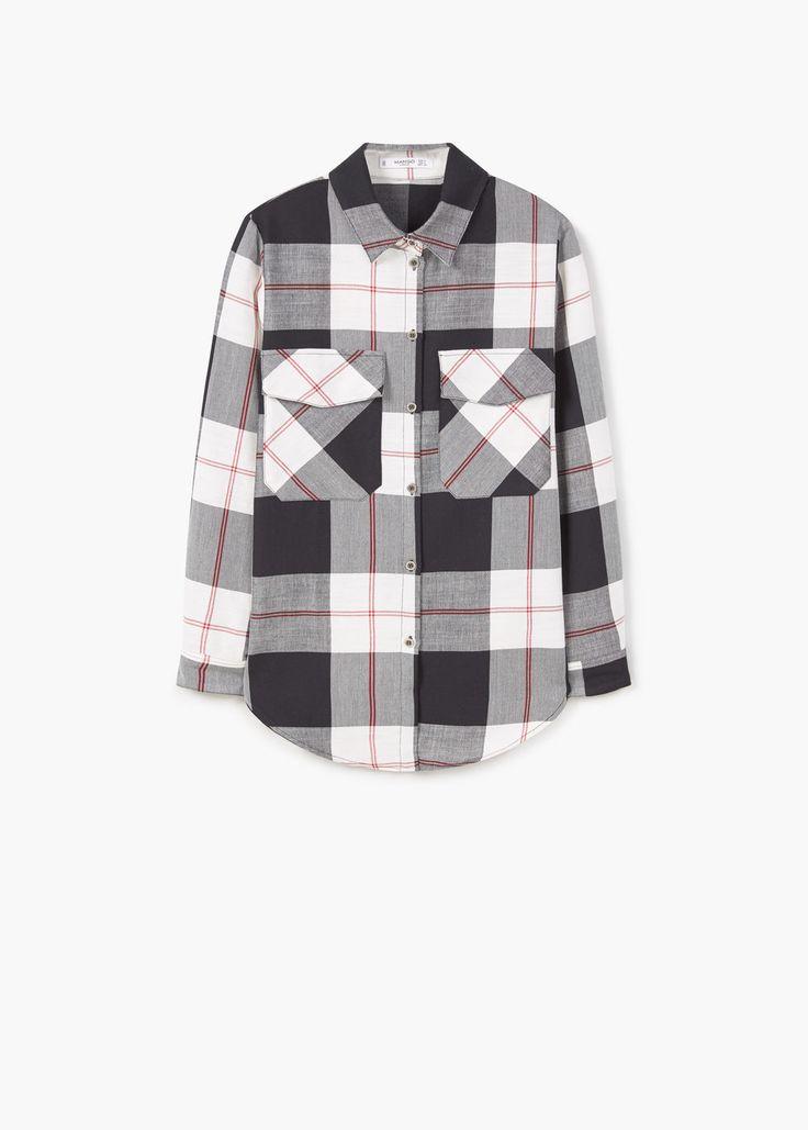Check cotton shirt   MANGO