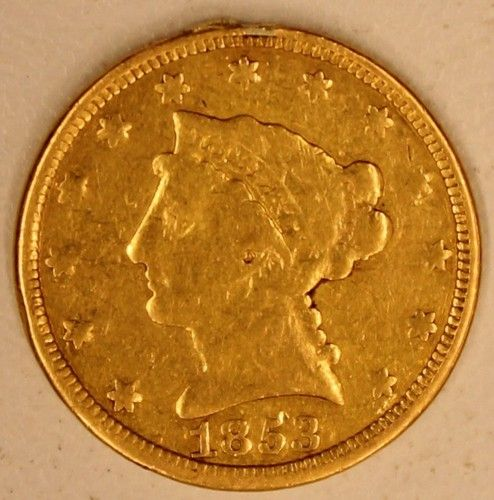 """1853 USA $2.50 Gold Love Token """"W.M.""""or """"M.W."""" Quarter Eagle Gold Coin Nice pre-Civil War US Quarter Eagle Gold LoveToken, in VG/F condition with great eye appeal. A former jewelry piece with evidence of a mount at 12 O'clock on edge."""
