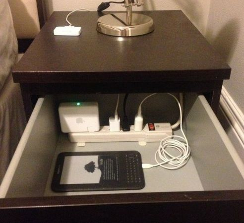 drawer 20 Unique Home Organizing Ideas with Pictures! Perf! So you don't have all your devices and their cords all over the place! So clever