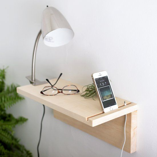 This floating nightstand is a great space saver and for Diy bedside cabinet