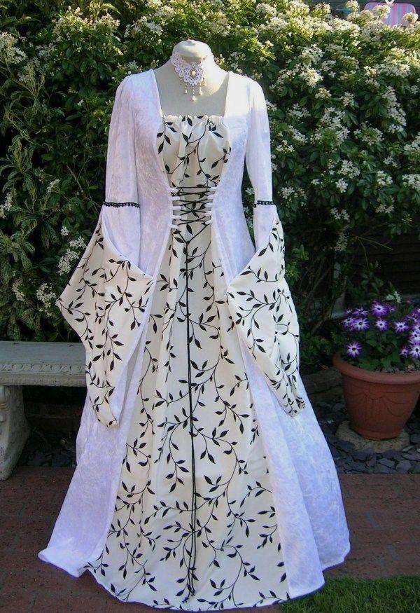 pagan weddings   Medieval Pagan Ivory velvet Wedding Dress