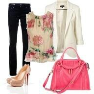 FallFloral Tops, Fashion, White Blazers, Style, Clothing, Night Outfit, Spring Outfits, Saturday Night, Bags