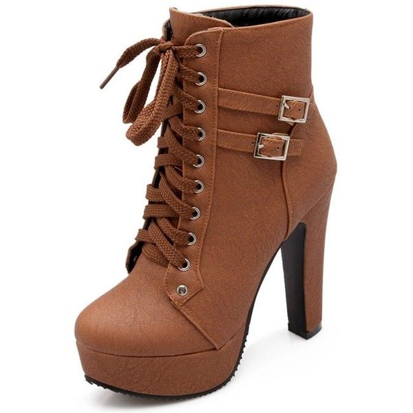 IDIFU Women's Comfy Buckle Lace Up Short Ankle Booties High Block... ❤ liked on Polyvore featuring shoes, boots, ankle booties, platform bootie, lace up platform booties, block heel bootie, block heel booties and lace-up bootie