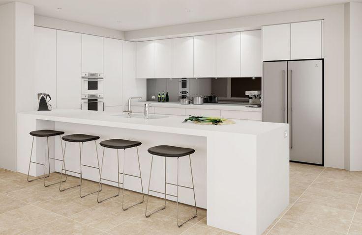 White handle-less kitchen with black splashback and white Smeg Linea appliances.