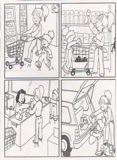 taal, taaldenken, logische reeksen.  taal, pragmatiek/integratie, stripverhaal.  thema: winkelen, boodschappen.