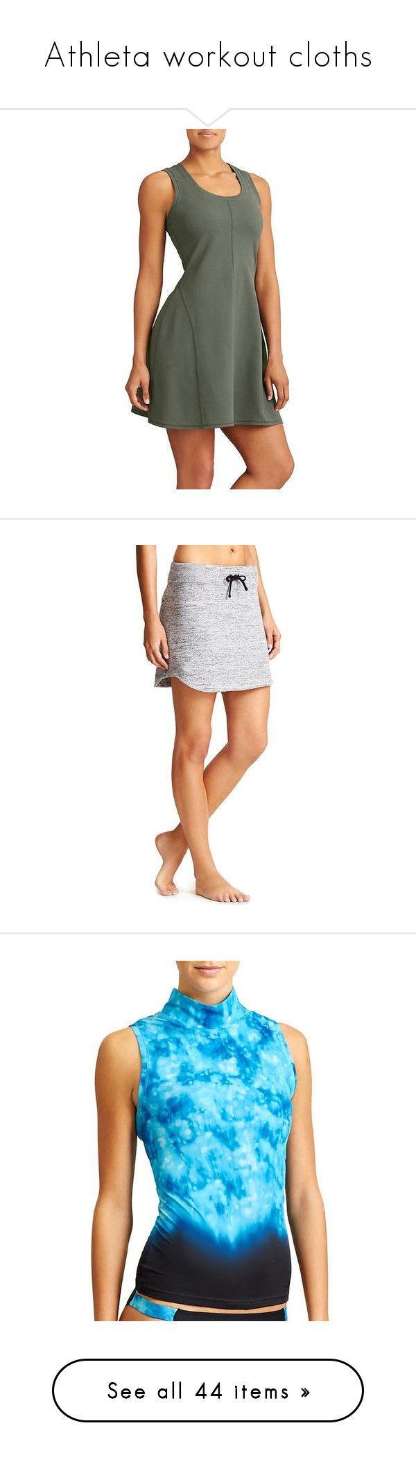 """Athleta workout cloths"" by smalls1776 ❤ liked on Polyvore featuring athleta, activewear, green, athleta sportswear, skirts, grey heather, athleta skirts, swimwear, bora bora blue and boardshorts"