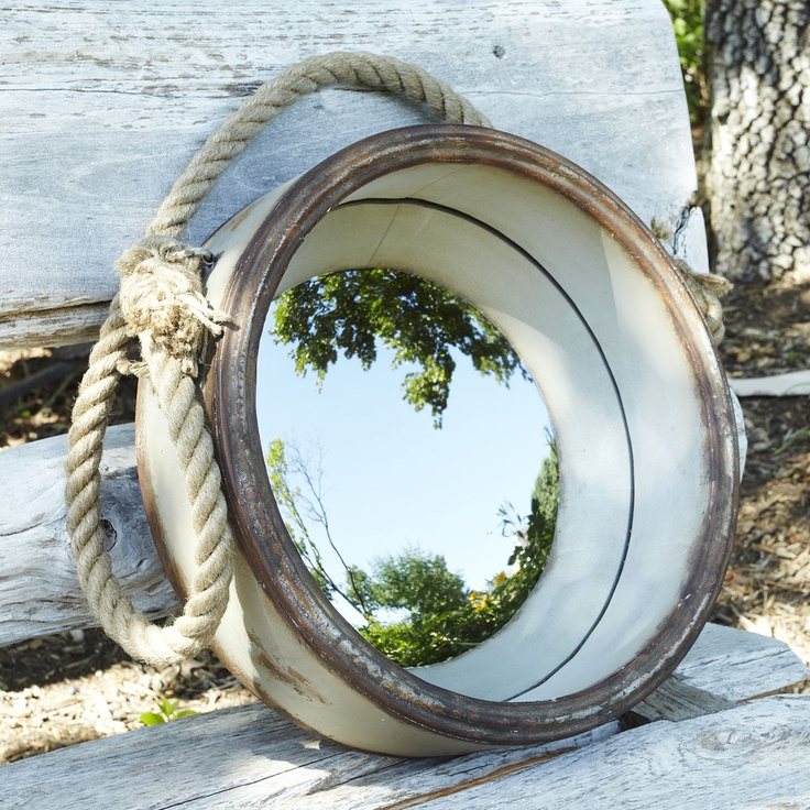 Wistera + Porthole Mirror  Way cool!: Nautical Style, Games Rooms, Mirror Mirror, Convex Mirror, Bathroom Vanities, Hanging Porthole, Beaches Houses, Porthole Mirror, Bedrooms Ideas