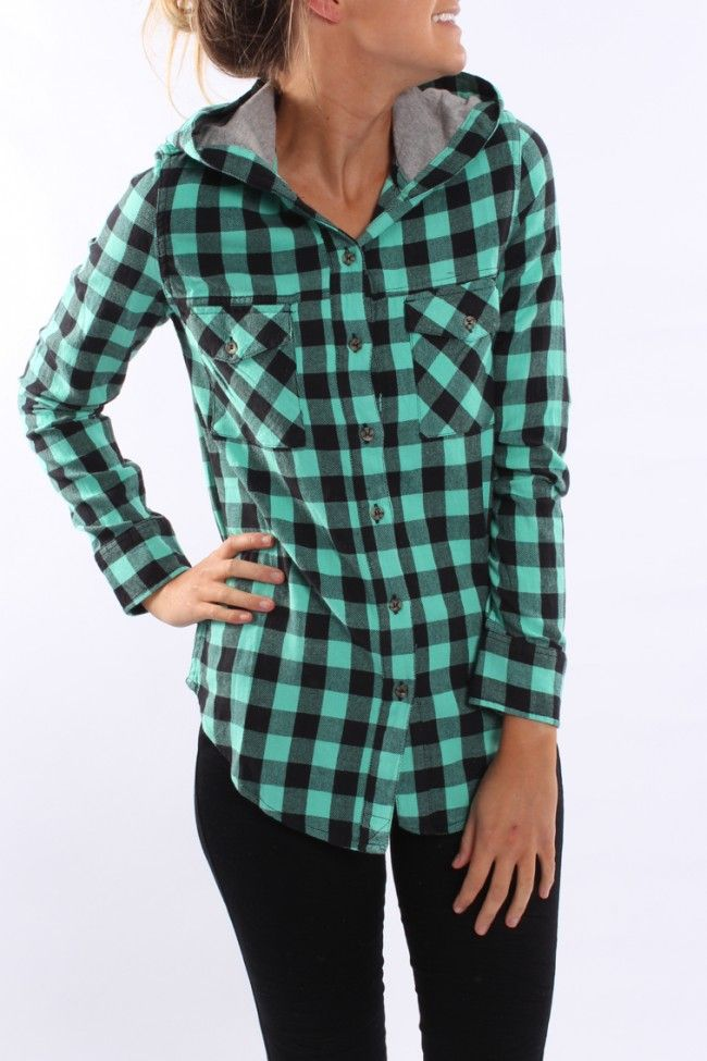 Love flannel shirts - wish they made them long AND fitted.  The hood is cute on this one!