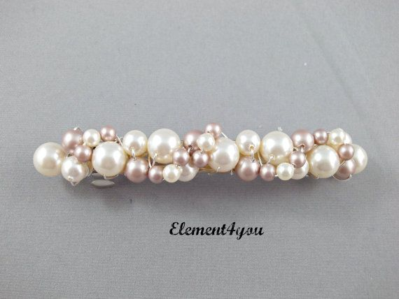 Pearl Bridal Barrette Wedding Barrette Beaded Pearl by Element4you, $25.00