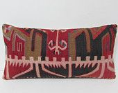 12x24 midcentury kilim pillow red throw pillow khaki decorative pillow embroidery pillow sham floral pillow sham tapestry pillow cover 24309