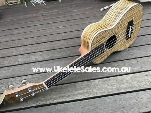 Concert Uke Zebra Wood Aquila Strings Laser Engraved Sound Hole