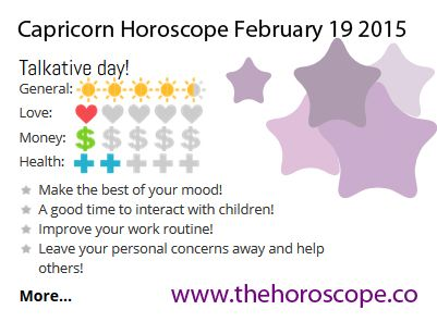 Talkative day for #Capricorn on Feb 19th #horoscope ... http://www.thehoroscope.co/horoscope/Capricorn-Horoscope-today-February-19-2015-2306.html